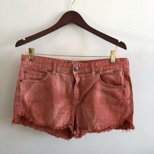 Free People Orange Denim Cut Off Shorts sz: W 30